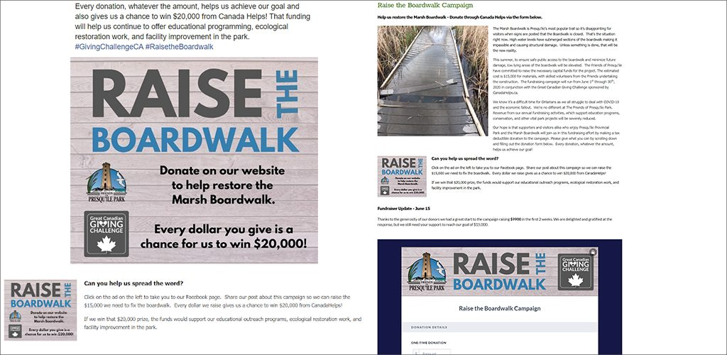 Friends of Presqu'ile Park rallies supporters to #RaisetheBoardwalk - campaign images from Facebook and landing page.