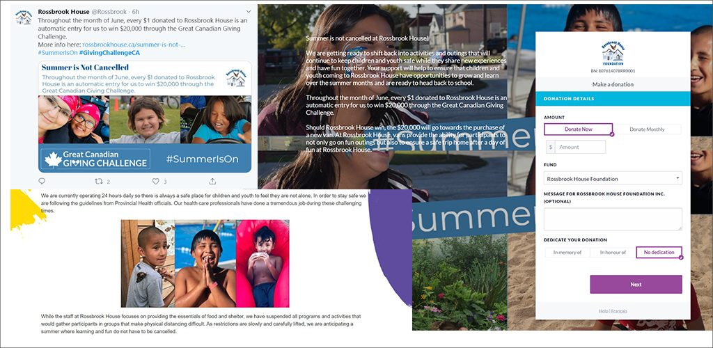 Rossbrook House lets everyone know that #SummerIsOn - campaign images from Twitter and landing page.