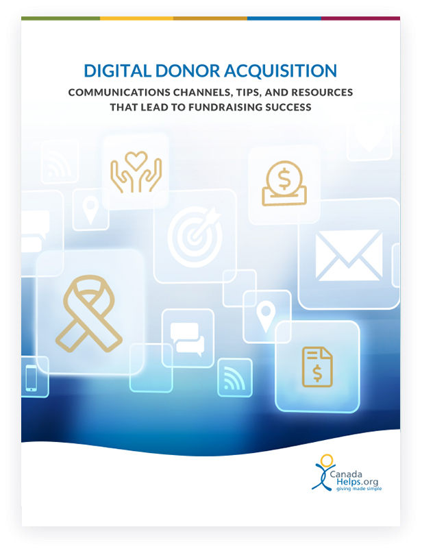 White paper cover with text 'Digital Donor Acquisition: Communications Channels, Tips, and Resources That Lead to Fundraising Success'