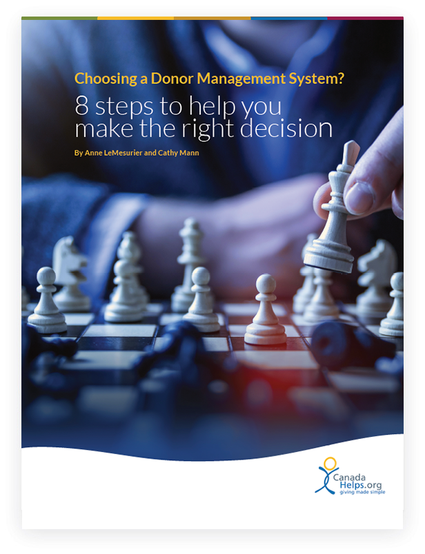 White Paper cover with text '8 Steps to Choosing a Donor Management System'