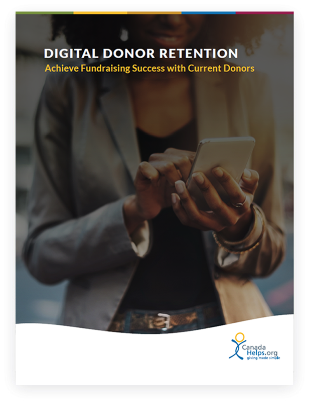 White paper cover with text 'Digital Donor Retention: Achieve Fundraising Success with Current Donors'