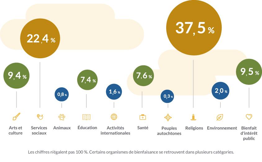 Arts et culture 9,4 %, Services sociaux 22,4 %, Animaux 0,8 %, Education 7,4 %, Activites internationales 1,6 %, Sante 7,6 %, Peuples autochtones 0,3 %, Religions 37,5 %, Environnement 2,0 %, 9,5 % Bienfait d'interet public