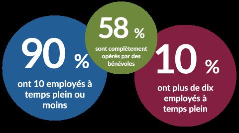 90 % ont 10 employes a temps plein ou moins, 58 % sont completement operes par des benevoles, 10 % ont plus de dix employes a temps plein