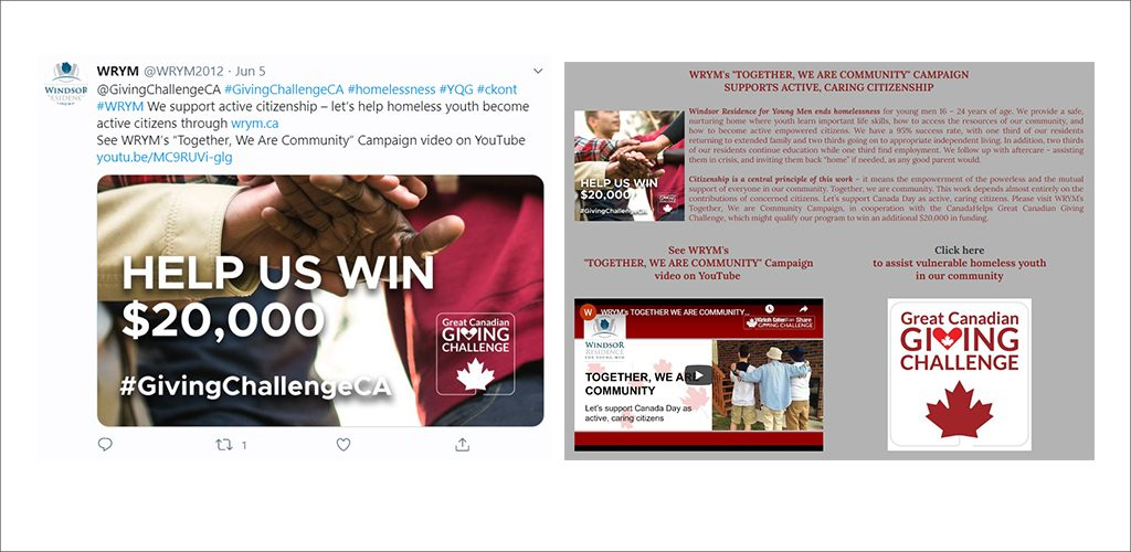 Windsor Residence for Young Men calls on fellow Canadians for support - campaign images from Twitter and landing page.