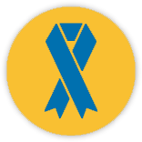 Yellow Circle with a Blue Charity Ribbon inside