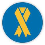 Blue Circle with a Yellow Charity Ribbon inside