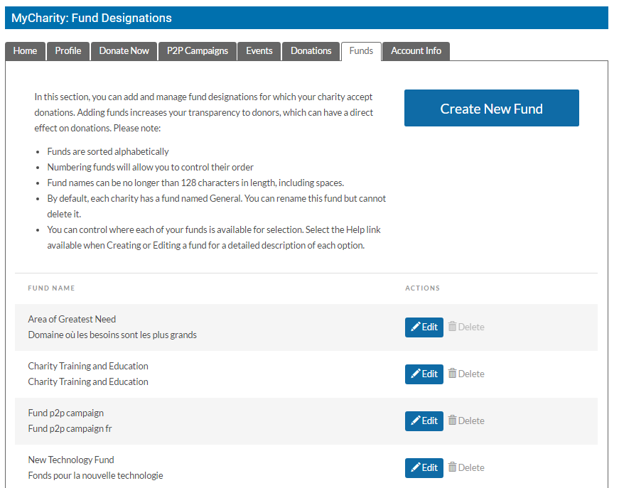 Funds Landing Page