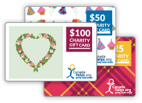 Three CanadaHelps charity gift cards. One with a flower heart pattern, one with a birthday pattern, and a red plaid pattern.