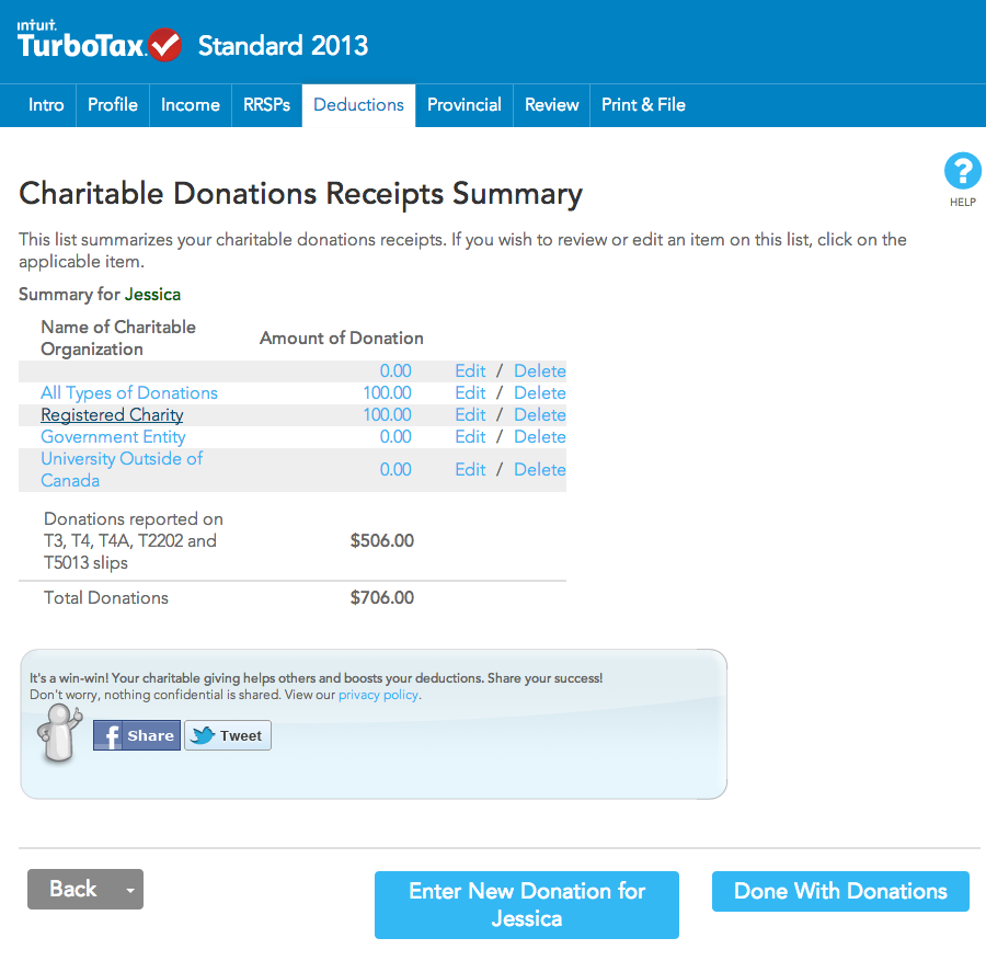 Charitable Donations Receipt Summary