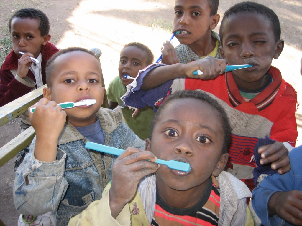 African children with toothbrushes
