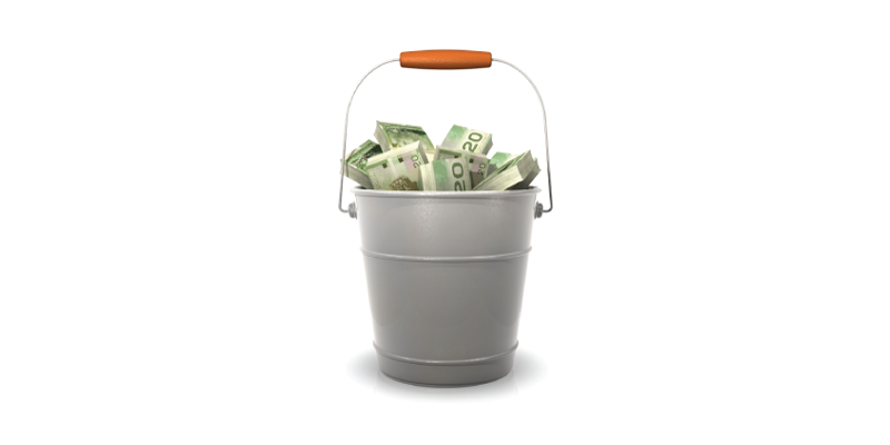 Silver bucket filled with money