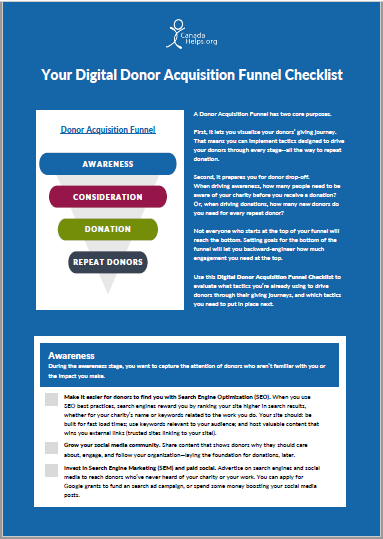 Cover page with text 'Your Digital Donor Acquisition Funnel Checklist'