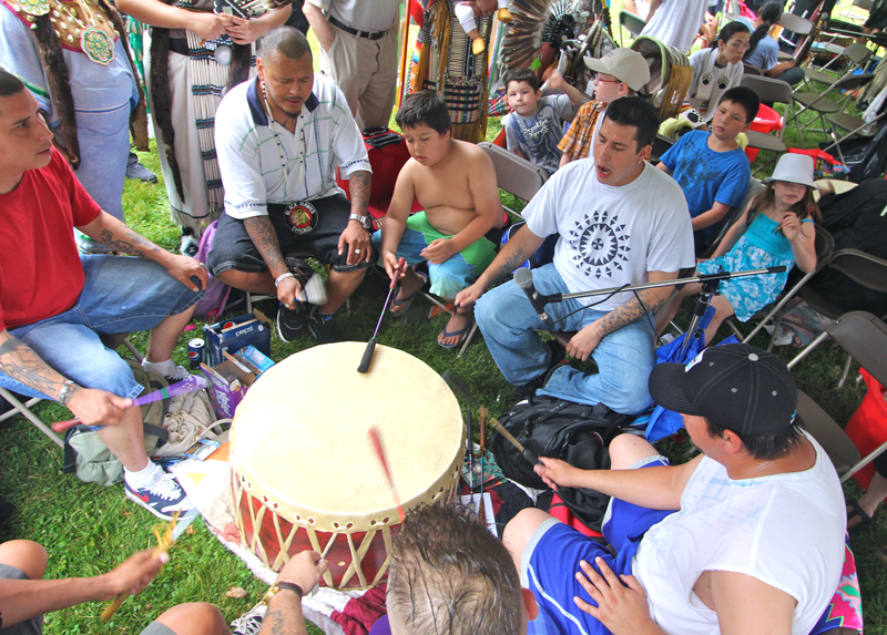 A drum group at the Annual Traditional Pow Wow