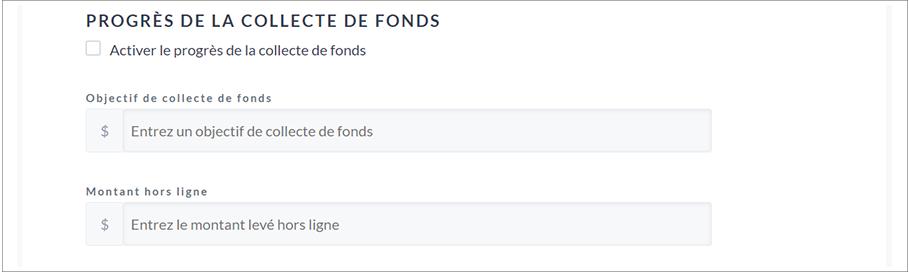 French image showing Fundraising Progress options.