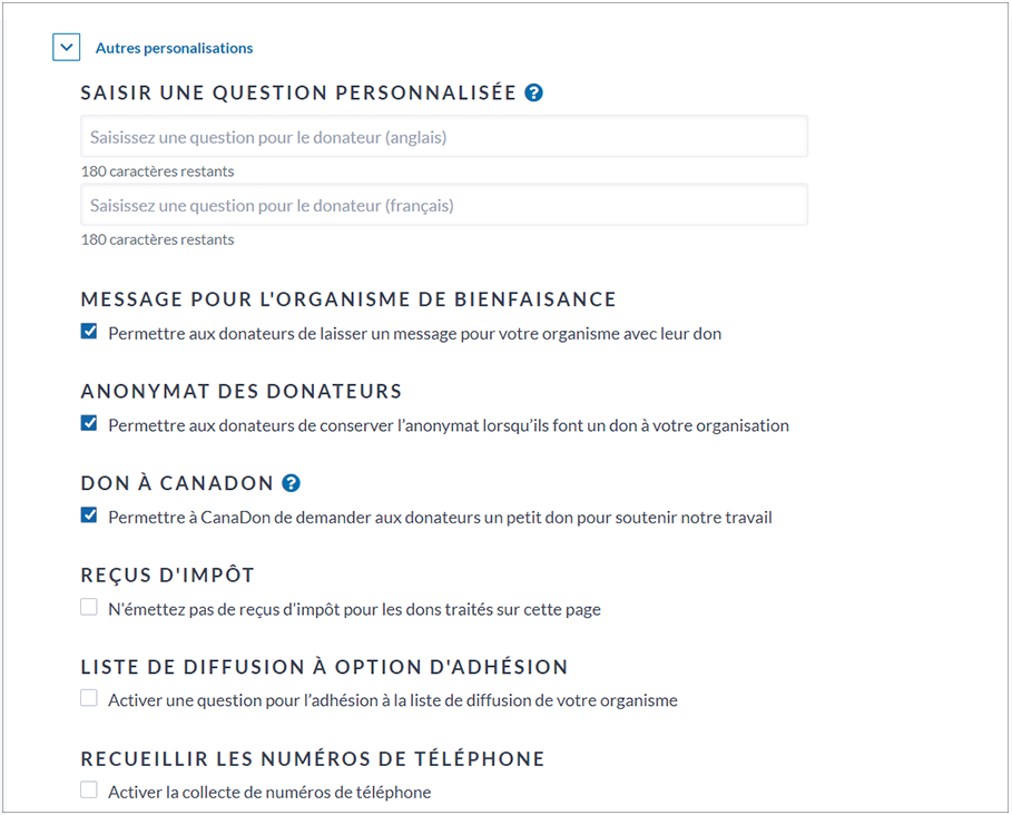 French image showing additional customization options: custom question, message to charity, donor anonymity, donation to CanadaHelps, tax receipts, mailing list opt-in, and collect phon number.