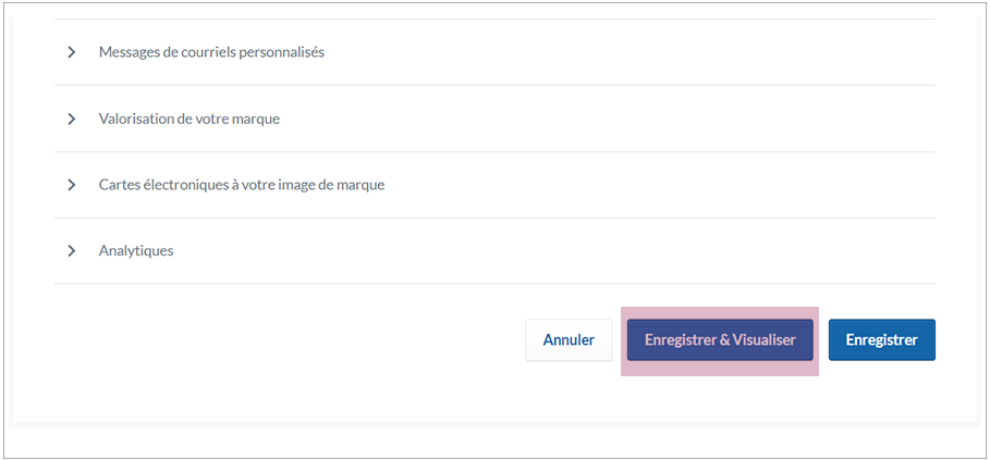 French image showing additional branding options: custom email messages, brand form, brand ecards, and analytics.