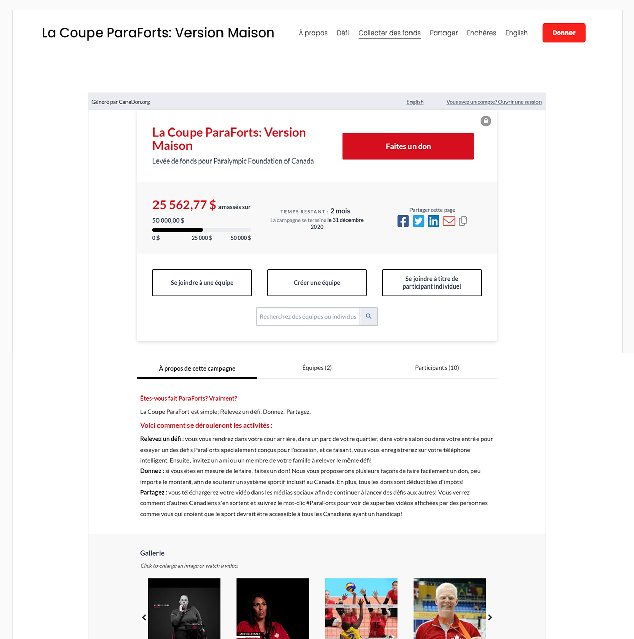 Image showing a French embedded P2P campaign on a charity website with header graphic and campaign details