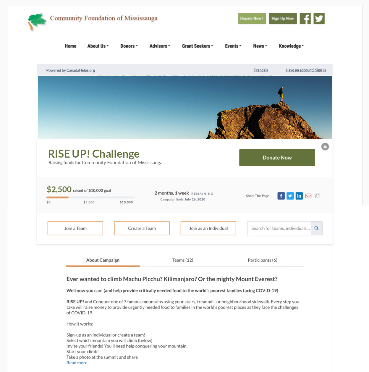 Image showing an embedded P2P campaign on a charity website with header graphic and campaign details