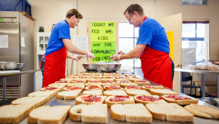 sandwiches made by volunteers