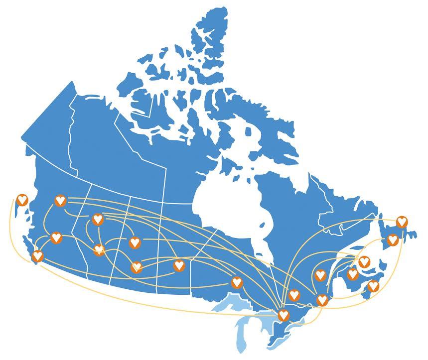 Hope Air Map of Canada